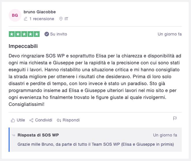 Recensione SOS WP su Trustpilot