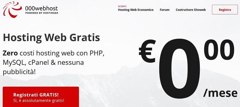 Spazio web gratuito 000webhost