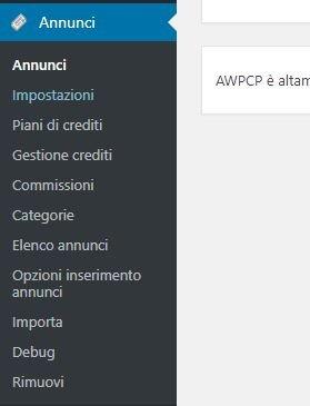 Costruire un sito di annunci con AWPCP - menu