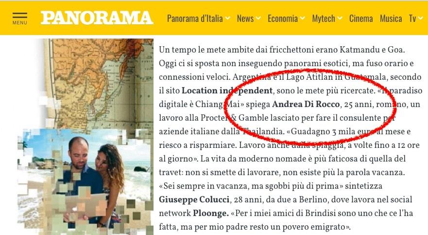 Andrea Di Rocco -Creare un blog - Articolo su panorama