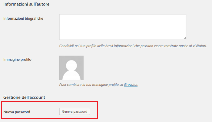 Come cambiare la password su WordPress