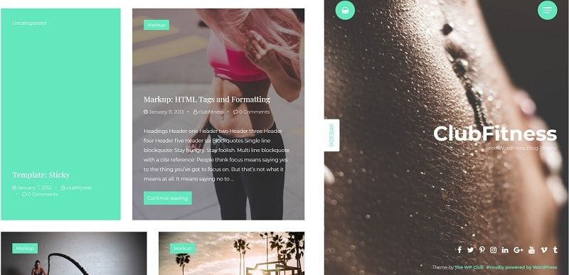 ClubFitness tema per WordPress