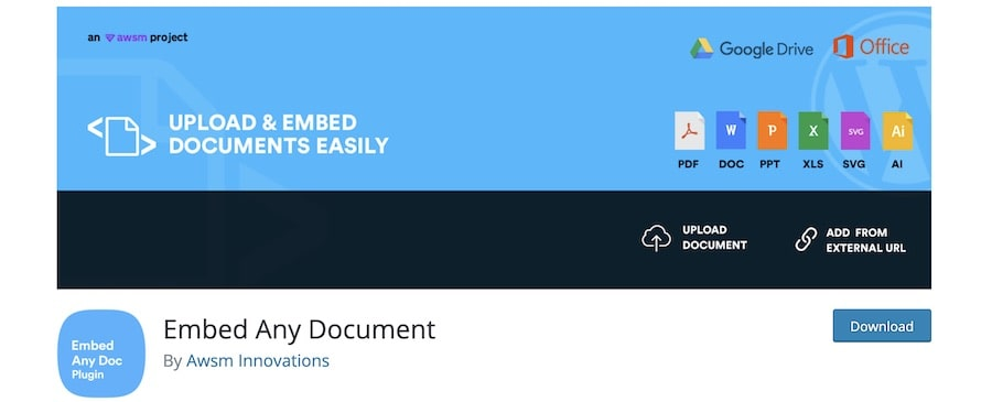 Come caricare e visualizzare file pdf su WordPress - Embed Any Document di Awsm Innovations