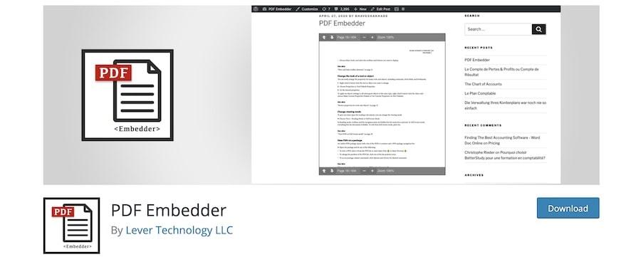 Come caricare e visualizzare file pdf su WordPress - PDF Embedder di Dan Lester