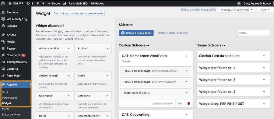 Come inserire un widget su WordPress