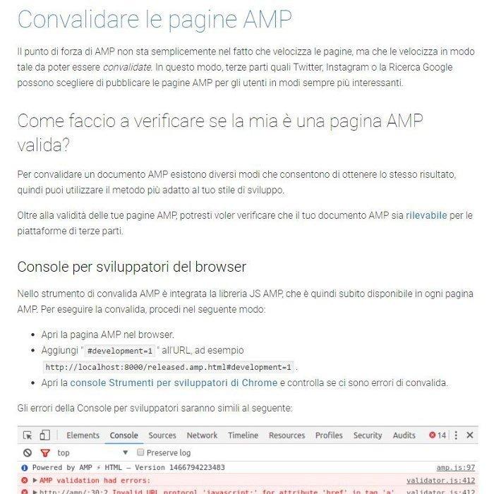 Convalidare il codice Google AMP