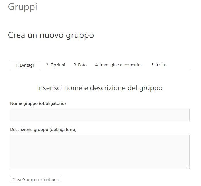 Crea gruppo BuddyPress