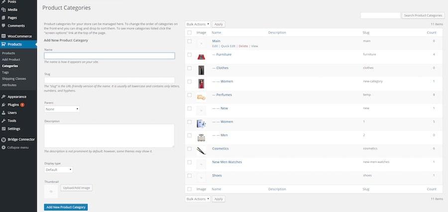 Creare sito eCommerce configurazione dei prodotti - Categorie del negozio online