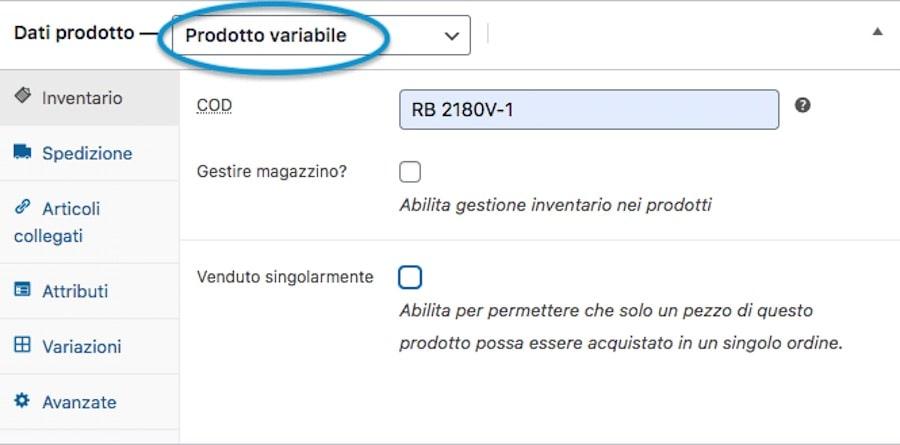 Creare sito eCommerce configurazione dei prodotti - prodotto variabile