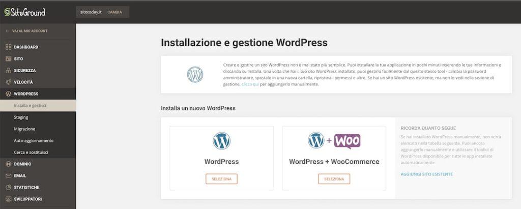 Dashboard Siteground - Installare WP