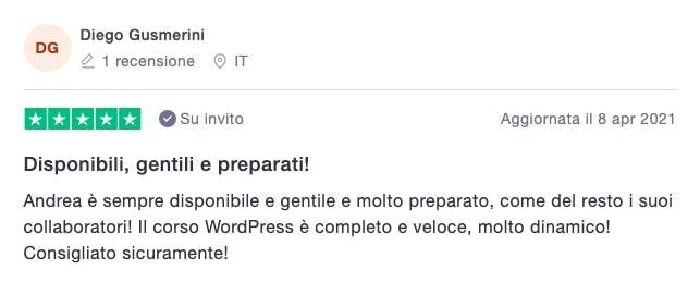Diego Gusmerini - recensione corso TUTTO WordPress
