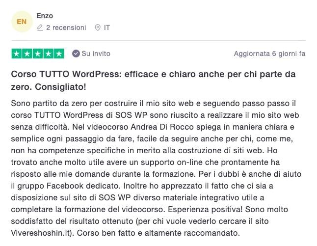 Enzo Giovinazzo - Recensione corso TUTTO WordPress