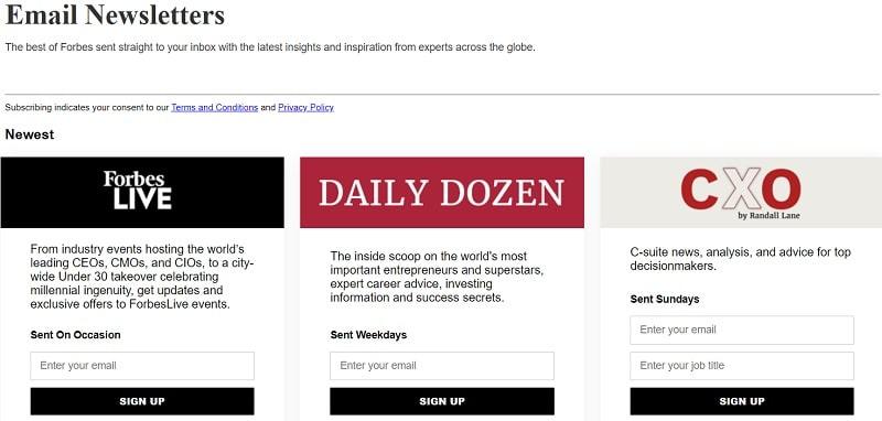 La squeeze page di Forbes