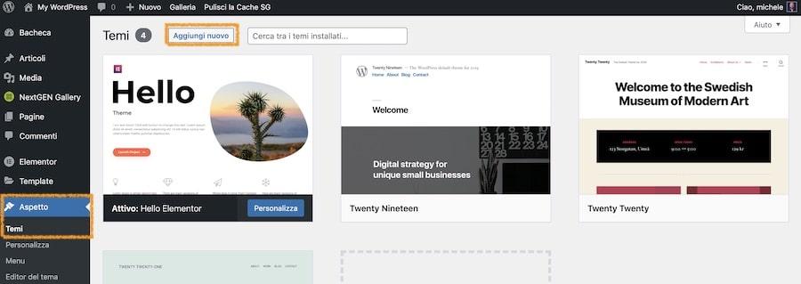 Installa il tema WordPress