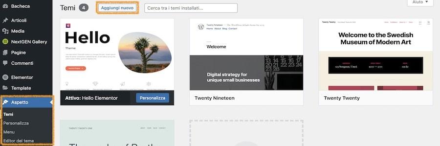 Installare tema WordPress e configurarlo nel modo corretto