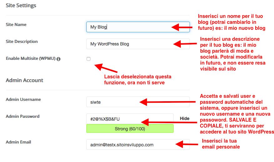impostazioni per installare WordPress