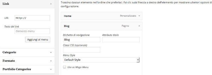 Aggiungere intestazioni non cliccabili nel menu WordPress