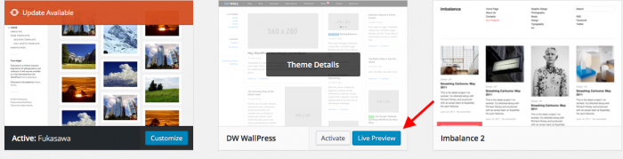 Live Preview del tema tra i trucchi WordPress