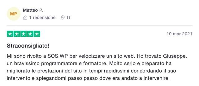 Matteo P. - recensione servizio Velocizzazione sito web