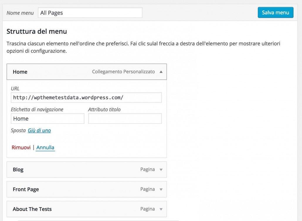 Menu WordPress - struttura