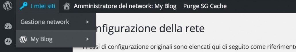 Menu gestione network WordPress Multisite