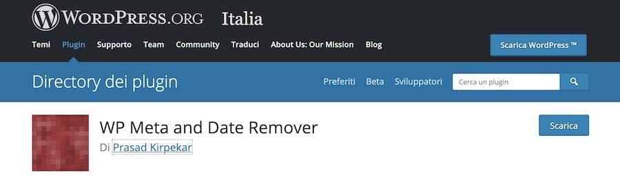 Nascondere la data attraverso - WP Meta and Date Remover