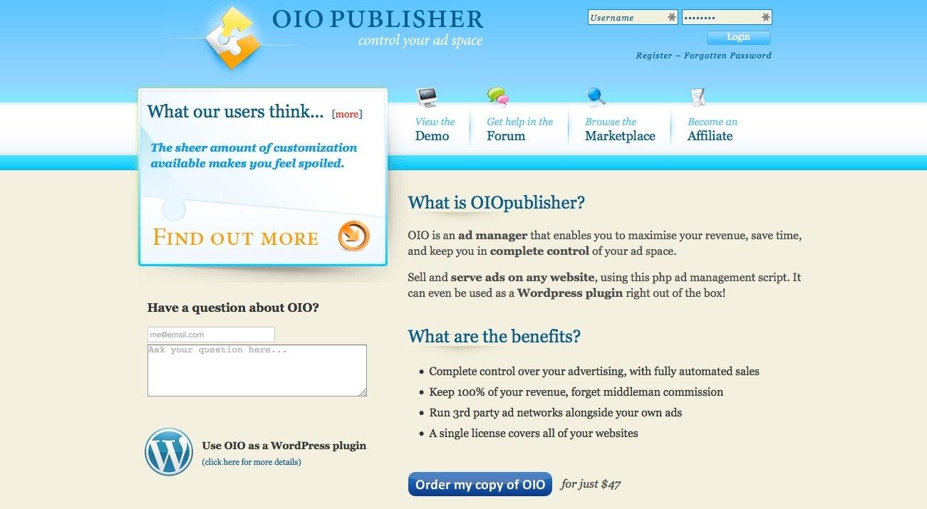 OIOpublisher gestione spazi pubblicitari su WordPress