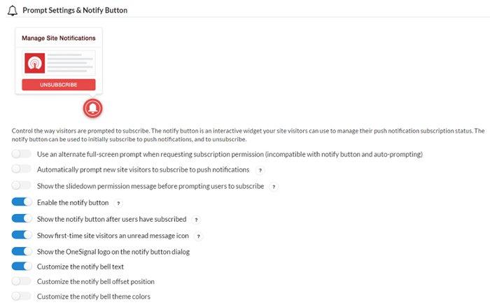 OneSignal configurazione bottone