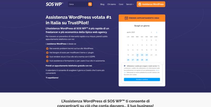 Pagina Assistenza WordPress di SOS WP