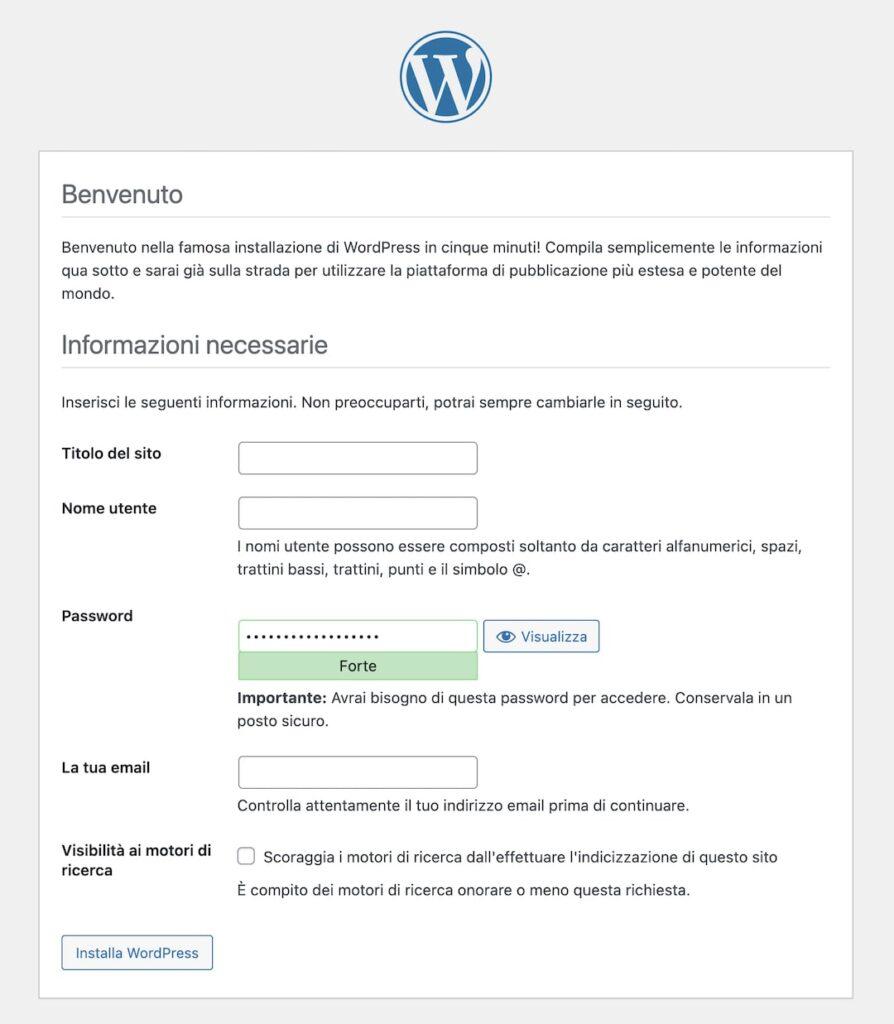 Pagina installazione WP