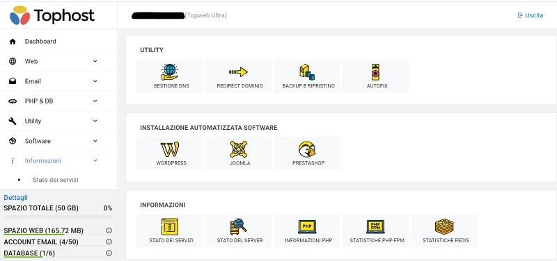 Pannello Tophost - Installazione Software