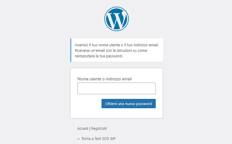 Password dimenticata WordPress