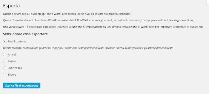 """Schermata funzionalità """"Esporta"""" di WordPress"""