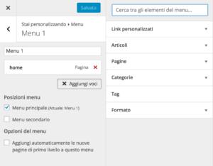 gestione menu dal pannello personalizza