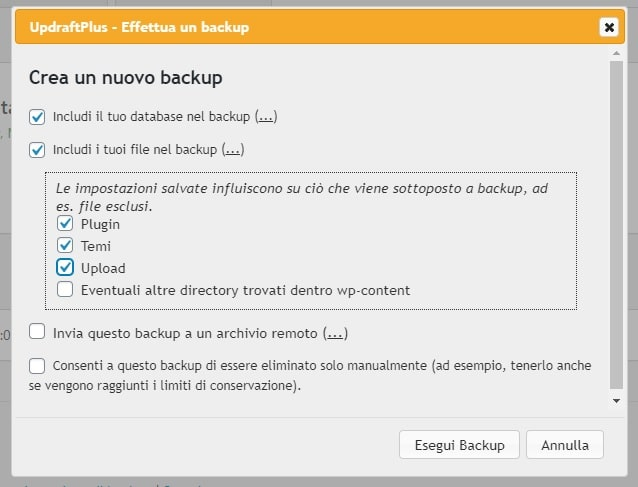 Seleziona file backup UpdraftPlus