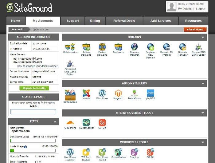 cPanel di SiteGround