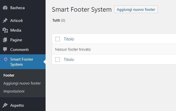 plugin Smart Footer System - installazione e impostazioni del plugin