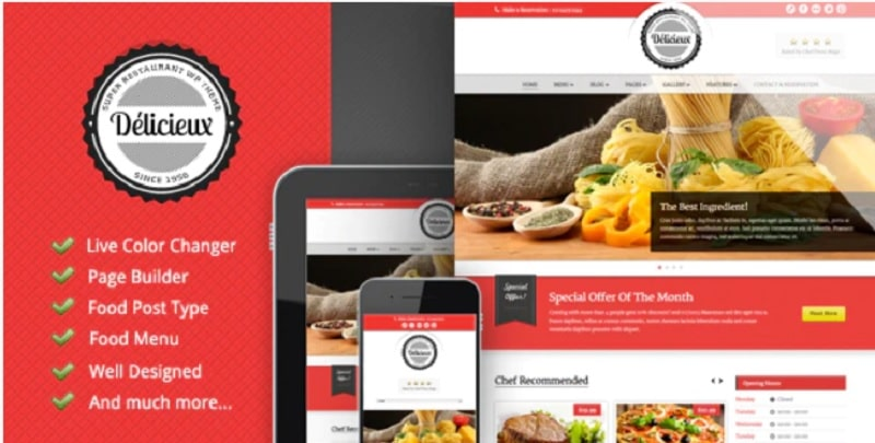 Tema per siti di ristoranti e agriturismi - Delicieux