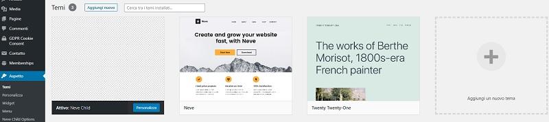 Temi WordPress installati