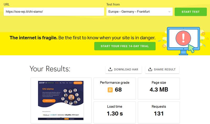 Test velocità sito con Pingdom