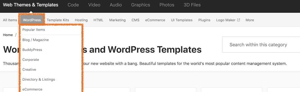 Themeforest WordPress come effettuare una prima ricerca
