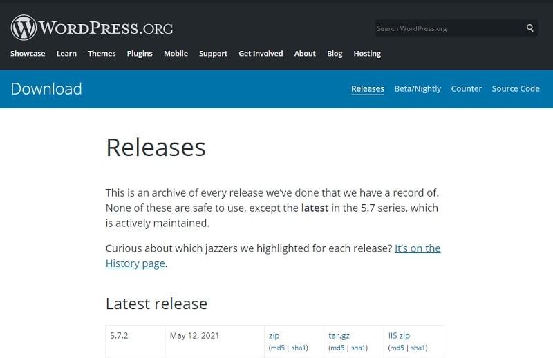 Tutte le versioni di WordPress