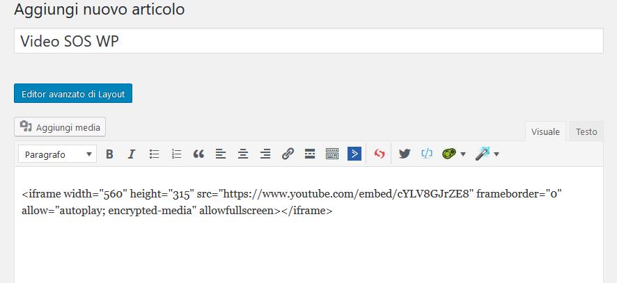 Inserire il codice del video nell'editor