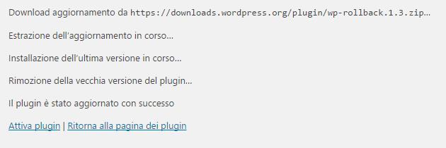 Tornare alle versioni precedenti di temi e plugin con WP Rollback - installazione vecchia versione del plugin
