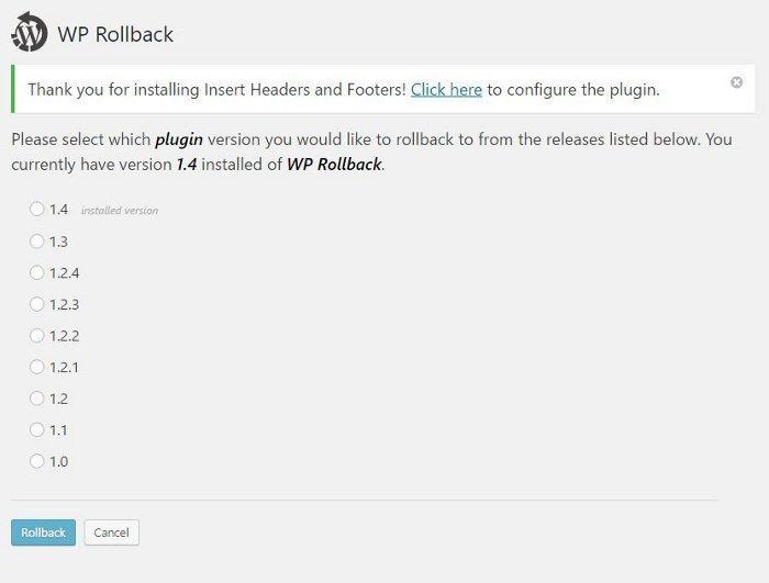 Tornare alle versioni precedenti di temi e plugin con WP Rollback - lista versioni disponibili