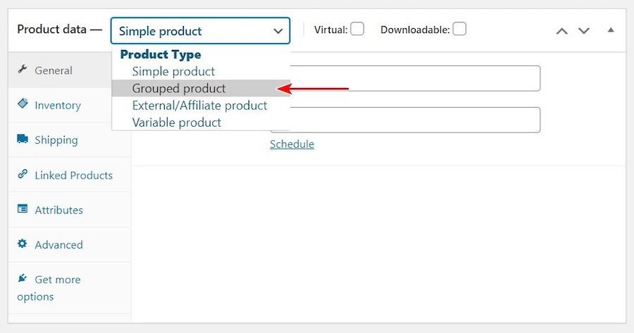 Creare sito eCommerce configurazione dei prodotti - Gruppo di Prodotti