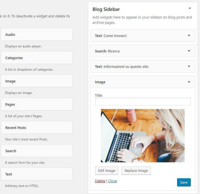 WordPress widget immagine sidebar