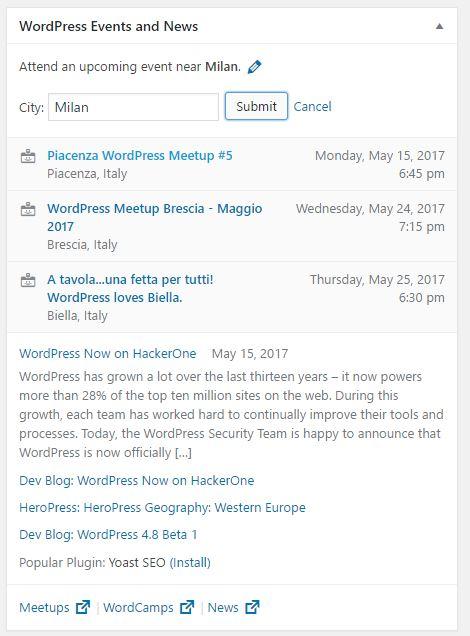 Novità di WordPress 4.8 - widget news ed eventi