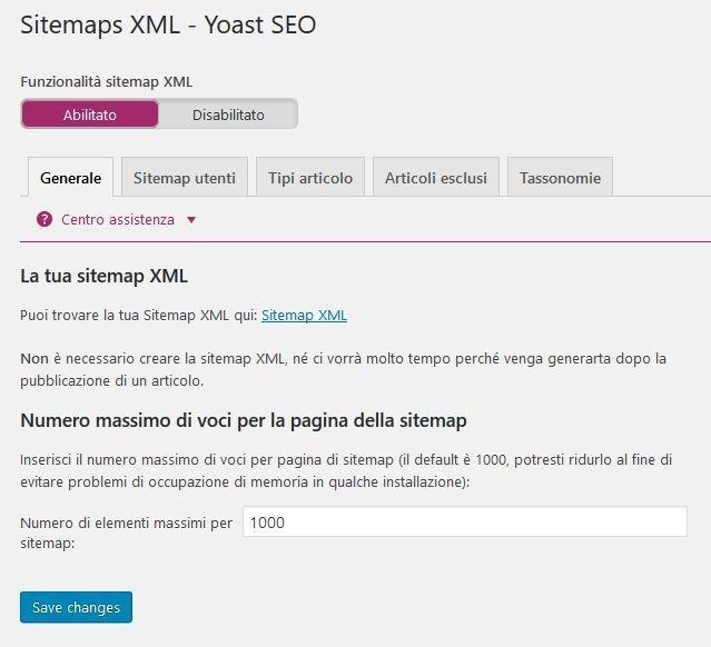 Yoast SEO - XLM sitemaps