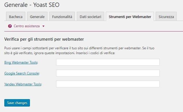 Connettere la Search Console a Yoast SEO per WordPress